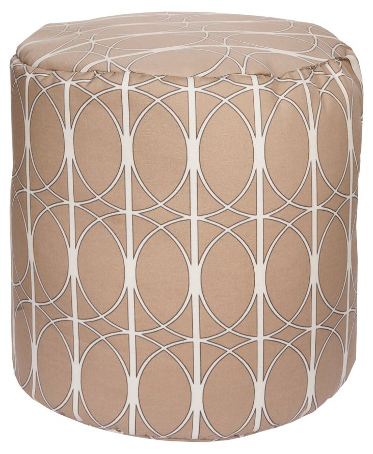 Circular Outdoor Pouf, Tan/Ivory