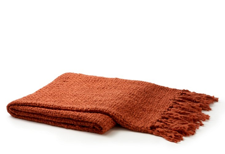 Solid Wool-Blended Weave Throw, Rust