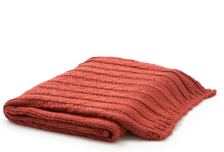 Knit Throw, Rust/Red