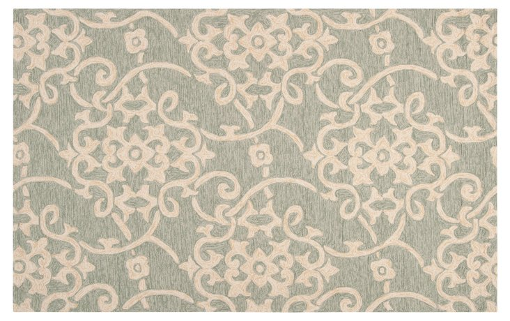 Francis Outdoor Rug, Moss/Multi