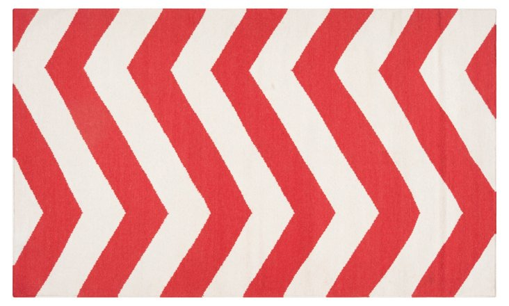 Pi Flat-Weave Rug, Orange-Red