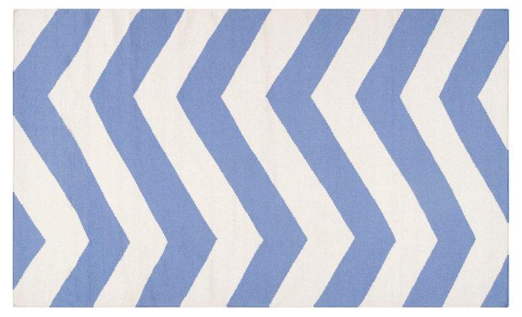 Pi Flat-Weave Rug, Periwinkle