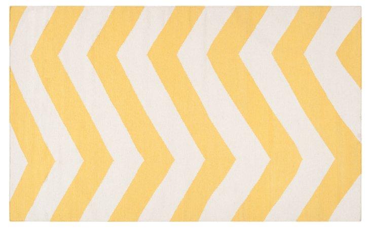 Pallas Flat-Weave Rug, Yellow/White