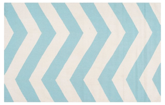 """2'6""""x8' Pi Flat-Weave Runner, Aqua"""