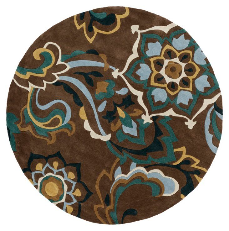 8' Round Murray Rug, Raw Umber/Teal