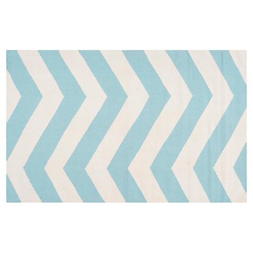 5'x8' Pi Flat-Weave Rug, Aqua