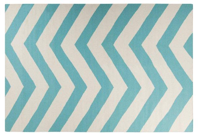 8'x11' Pi Flat-Weave Rug, Aqua