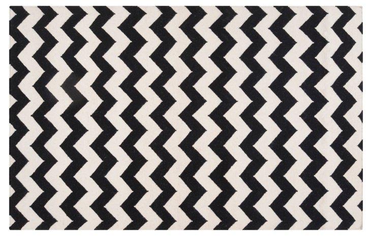 Valencia Flat-Weave Rug, Black/White