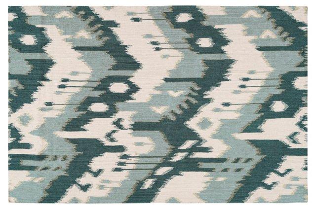 Sam Flat-Weave Rug, Peacock Green