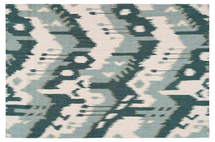 2'x3' Grays Flat-Weave Rug, Teal/Sky