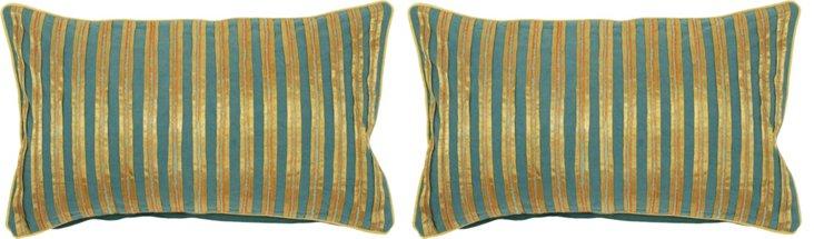 S/2 Stripe 13x20 Pillows, Gold