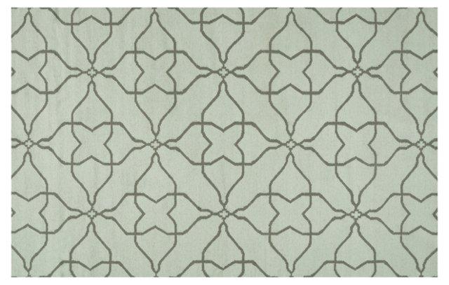 2'x3' Char Flat-Weave Rug, Celadon Tint