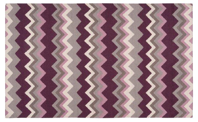 Nesoi Flat-Weave Rug, Purple