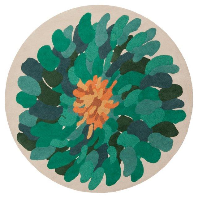 8' Round Gilby Rug, Bone/Jungle Green