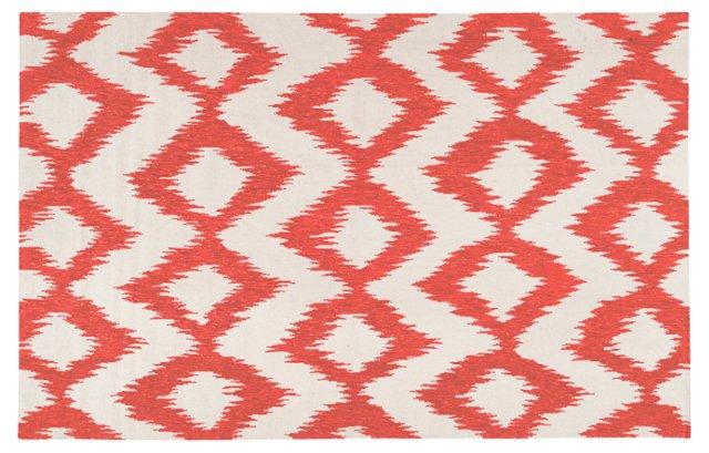 "2'6""x8' Kendall Flat-Weave Runner, Red"