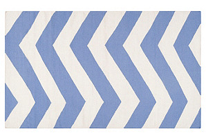 2'x3' Pi Flat-Weave Rug, Periwinkle