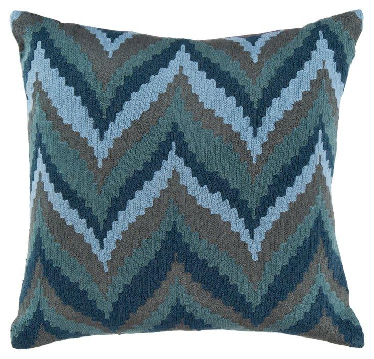 Scallop Chevron 18x18 Pillow, Blue