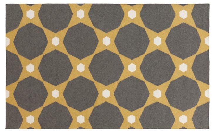 Hera Flat-Weave Rug, Kelp Brown