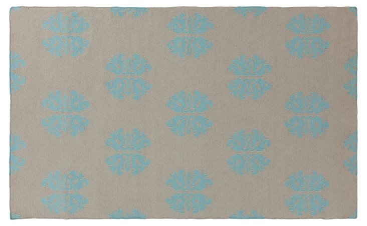 8'x11' Notaro Flat-Weave Rug, Blue Haze