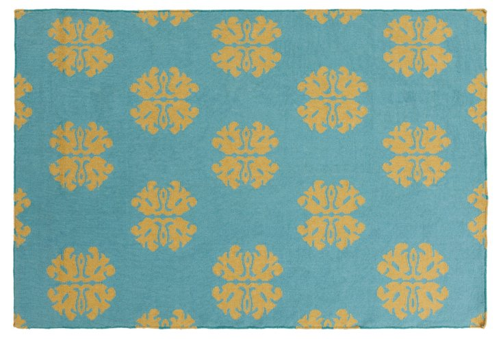 8'x11' Notaro Flat-Weave Rug, Turquoise