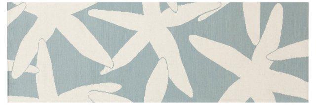 """2'6""""x8' Starfish Flat-Weave Runner, Blue"""