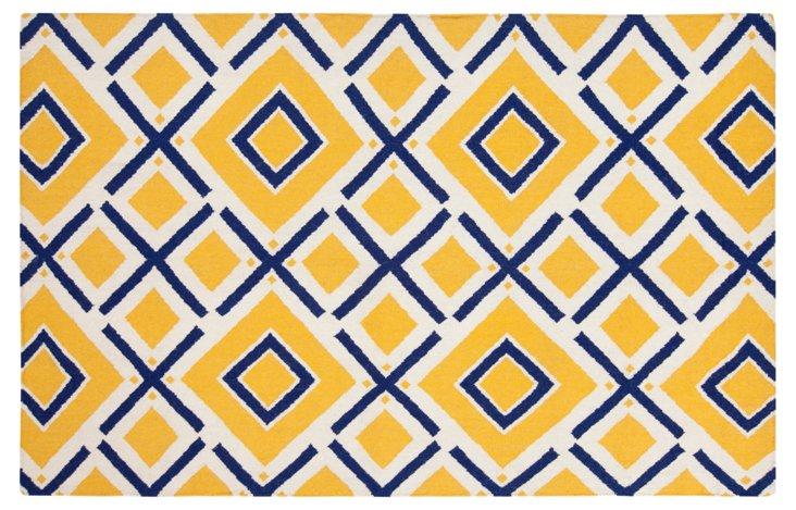 8'x11' Cos Flat-Weave Rug, Yellow