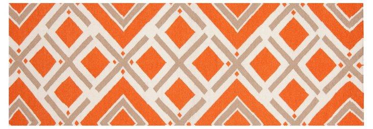 "2'6""x8' Cos Flat-Weave Runner, Orange"