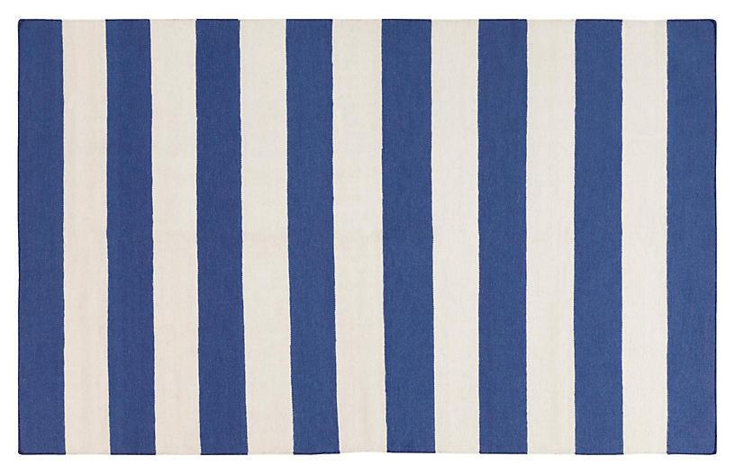 Hermie Flat-Weave Rug, Blue