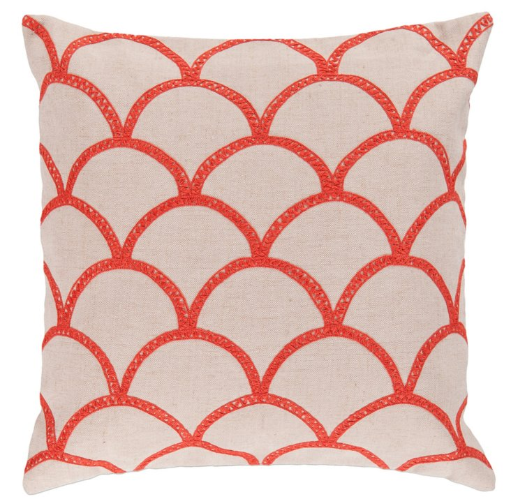 Scales Embroidered Pillow, Orange
