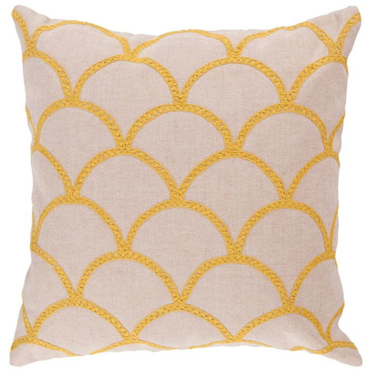 Scales Cotton Pillow, Yellow