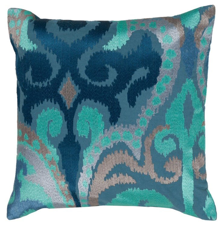 Ikat 22x22 Cotton Pillow, Blue