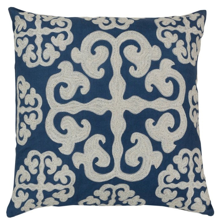 S/2 Scroll Cotton Pillow, Blue