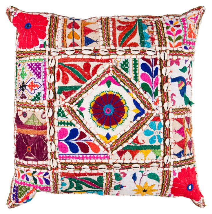 Medley Embroidered Pillow, Red