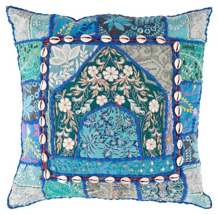 Medley Cotton Pillow, Blue