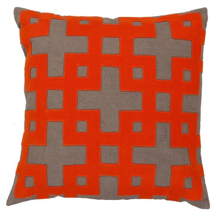 S/2 Trellis Cotton Pillows, Poppy