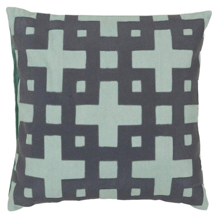 Trellis Cotton Pillow, Slate Blue