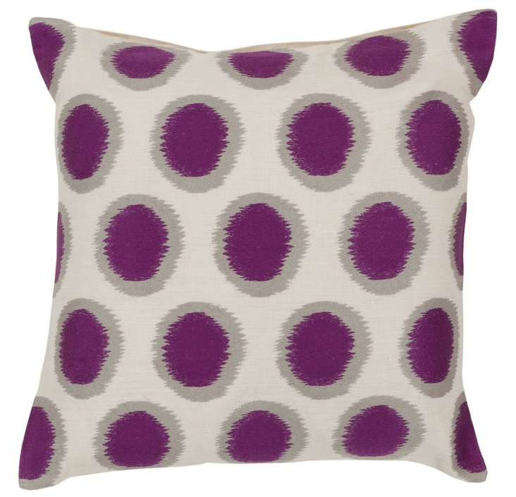 Dotty Cotton Pillow, Purple
