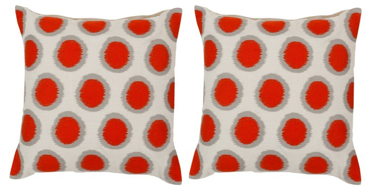 Set of 2 Dots Pillows, Orange