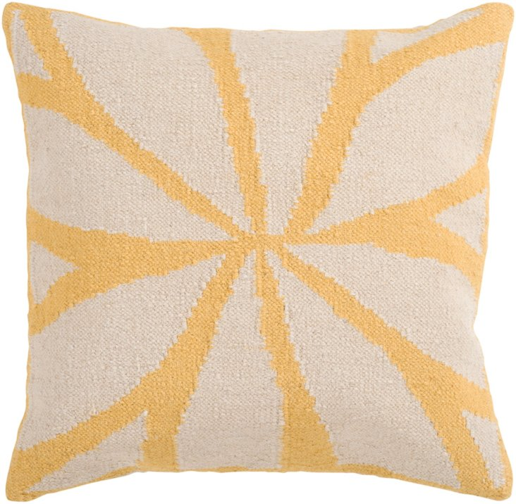 Leaves 22x22  Cotton Pillow, Yellow