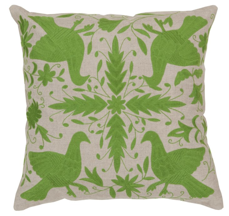 Dove Embroidered Pillow, Green