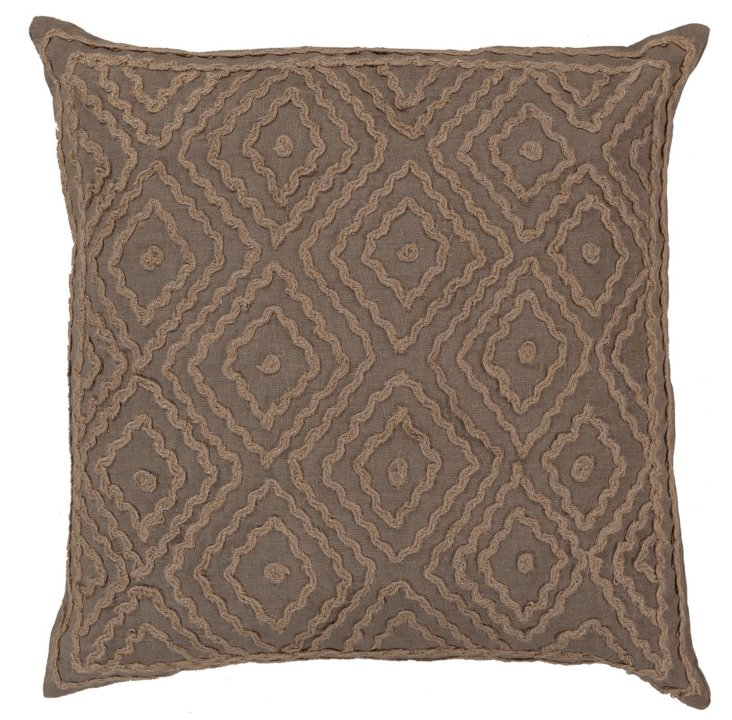 Maze Embroidered Pillow, Brown