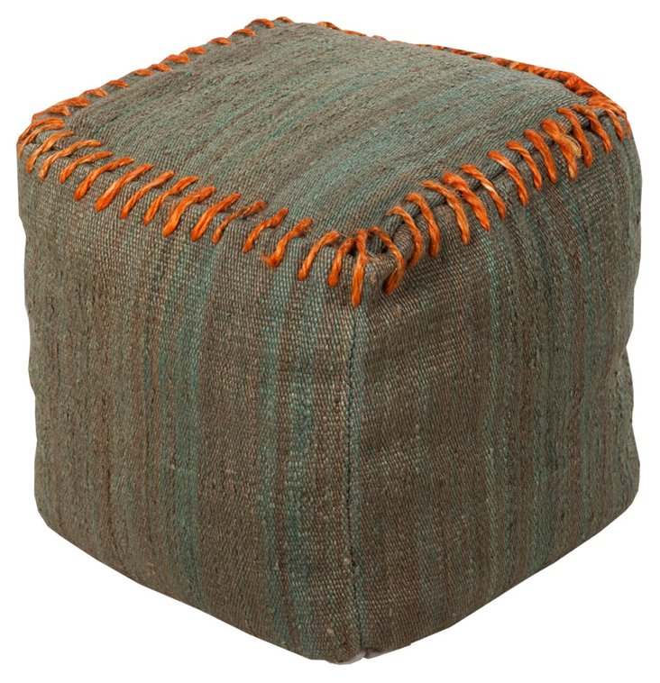Rope-Stitch Pouf, Moss/Orange