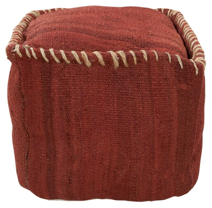 Rope-Stitch Pouf, Rust/Camel