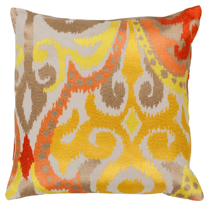 Damask 22x22 Cotton Pillow, Gold