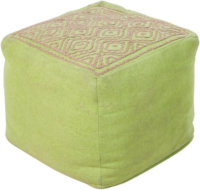 Wylie Geometric Pouf, Lime Green/Jute