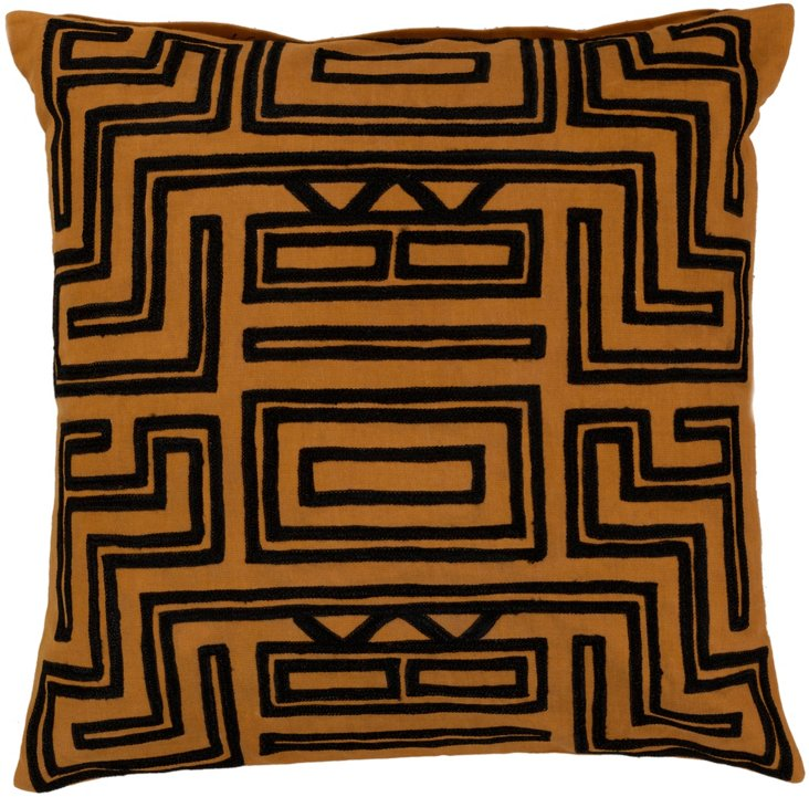 Tribal Embroidered Pillow, Orange