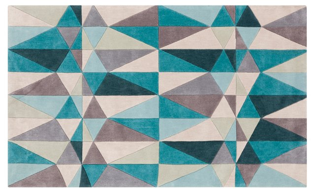 Claire Rug, Teal Blue/Multi