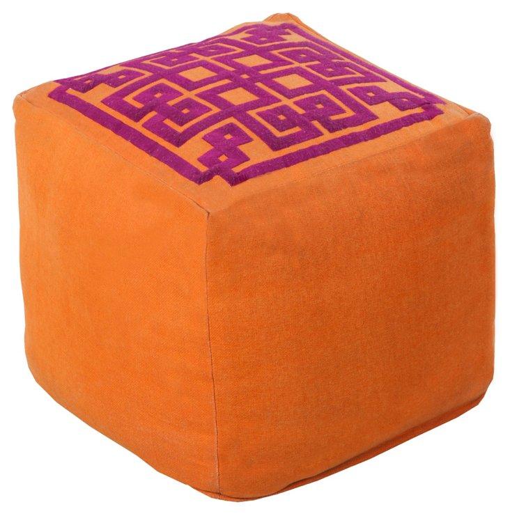 Wylie Linen Pouf, Orange/Pink