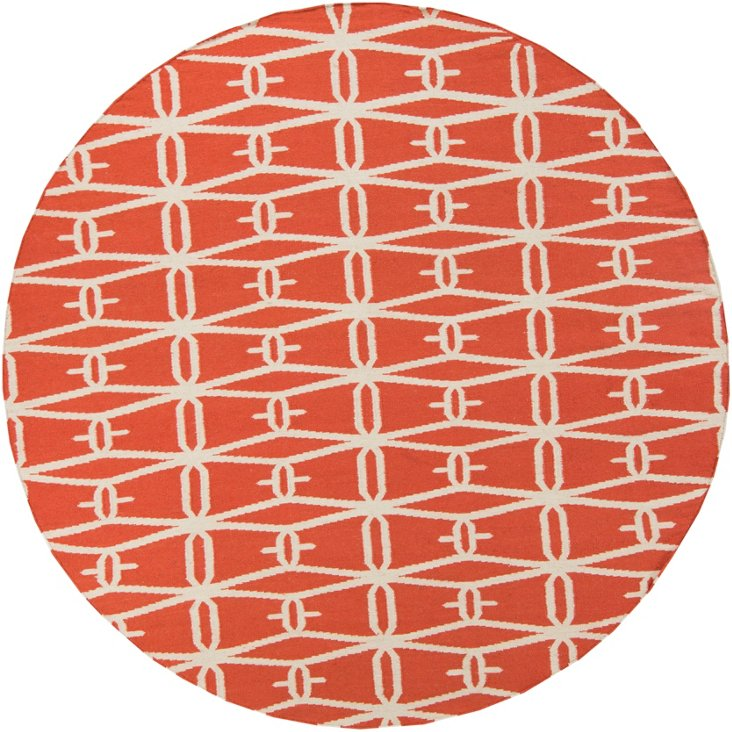 8' Round Apollo Flat-Weave Rug, Coral