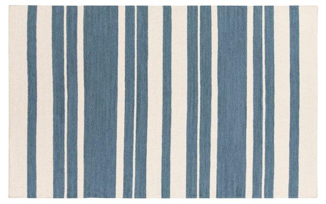 Rose Flat-Weave Rug, Blue